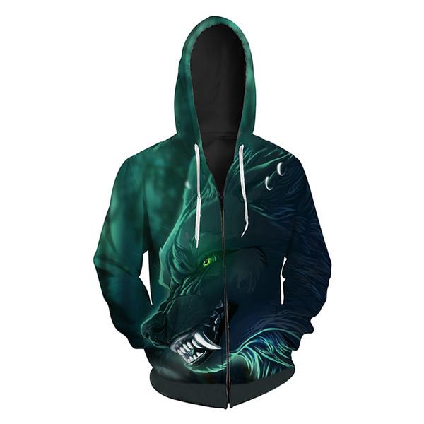 Men Zipper Hoodie Wolf Head 3D Full Print Man Zip Hooded Sweatshirt Unisex Casual Hoodies Long Sleeves Sweatshirts Digital Tops (R403)