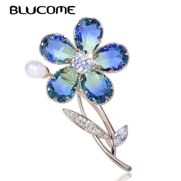 atacado de luxo planta da flor Broche Zircon Copper Pérola Jóias Cristal casamento menina das mulheres roupas elegantes presentes Pin Acessórios