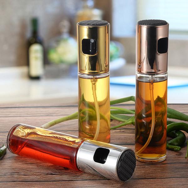 Aceite pulverizador de botella de cristal con vinagre de oro / plata / oro rosa Cap cocina barbacoa utensilios de cocina