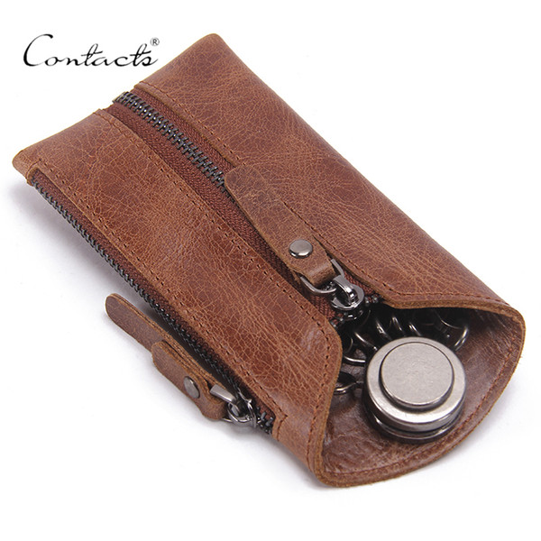 Contatto vintage in vera pelle chiave portafoglio donne portachiavi copre cerniera caso chiave borsa uomo portachiavi governante chiavi organizzatore Y19052202