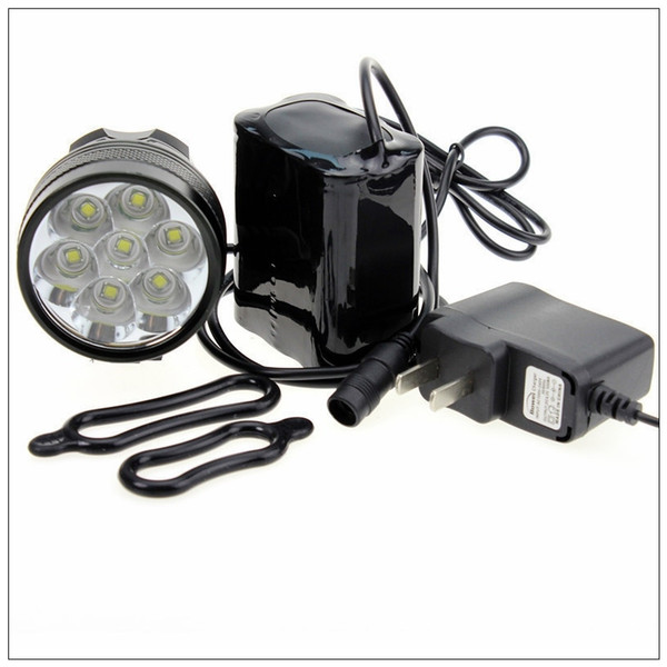 Bicycle Bike Light 7*XML T6 LED Waterproof Bright Front Flash Light headlamp + 8.4V Rechargeable Battery Pack + Charger #163917