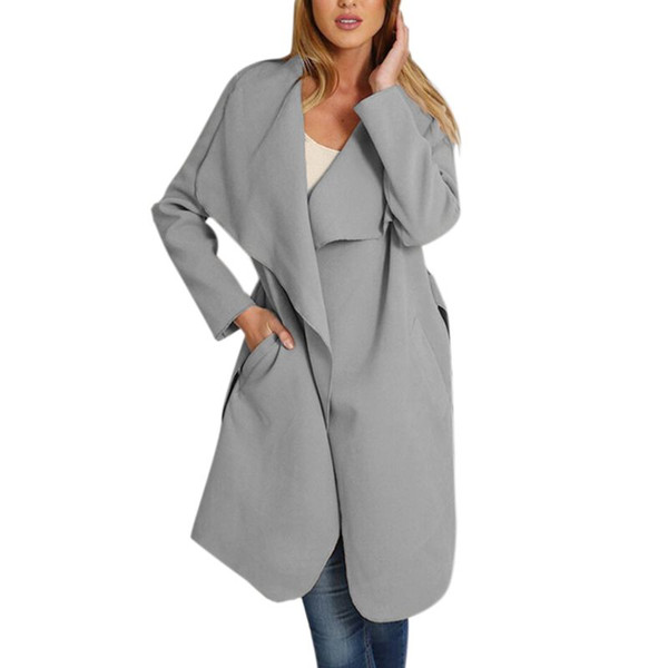Neue Wollmischung Langer Mantel Frauen Langarm Umlegekragen Gurt Taschen Outwear Jacke Lässig Herbst Winter Eleganten Mantel