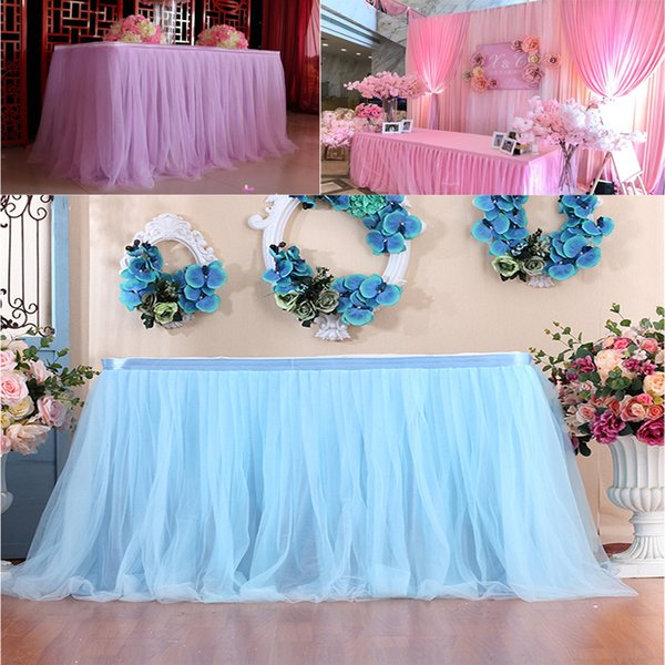 Table Skirt Tableware Cloth Wedding Tutu Tulle Table Skirt Baby Shower Party Home Decor Skirting Wedding Birthday Party