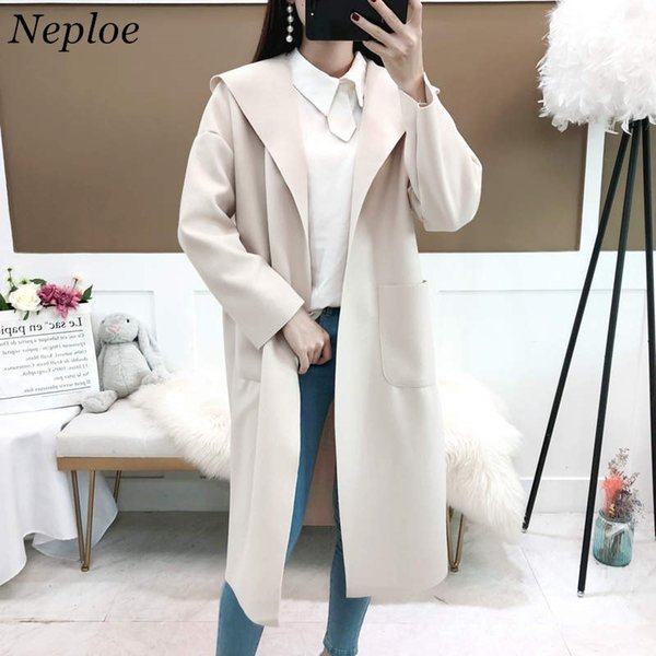 Neploe Medium-long Hooded Woolen Coat Solid Long Sleeve Open Stich Pocket Design Jacket Woman Autumn Winter Overcoat 37667