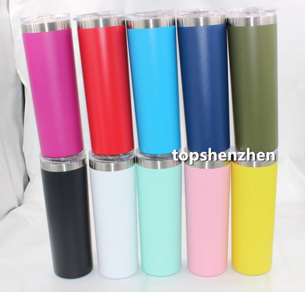 Hot 20oz 30oz Skinny Tumbler Double Wall Stainless Steel 20 oz 30 oz Vacuum Tumbler Vacuum Insulated Straight Cups Flask Beer Coffee Mugs