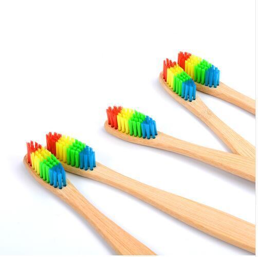Natural Bamboo Toothbrush Wooden Rainbow Toothbrushes Medium Hard Bristle Head Oral Care Travel Teeth Brush
