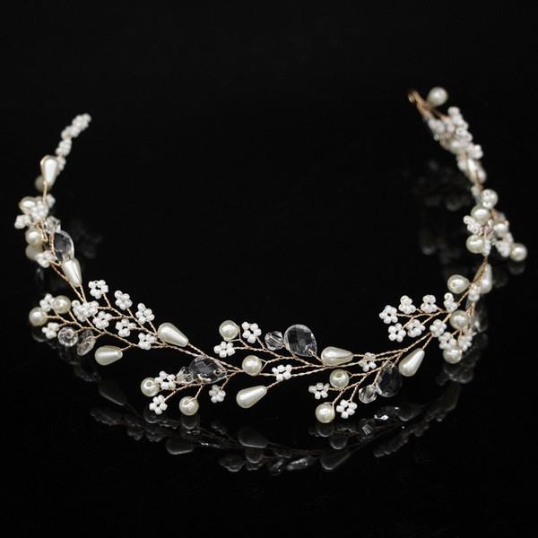 Schmuck neue Art und Weise Perlen-Blumen-Rebe-Tiara Braut-Kopf-Ketten-Brautstirnband-Haarschmuck Hochzeit Haarschmuck