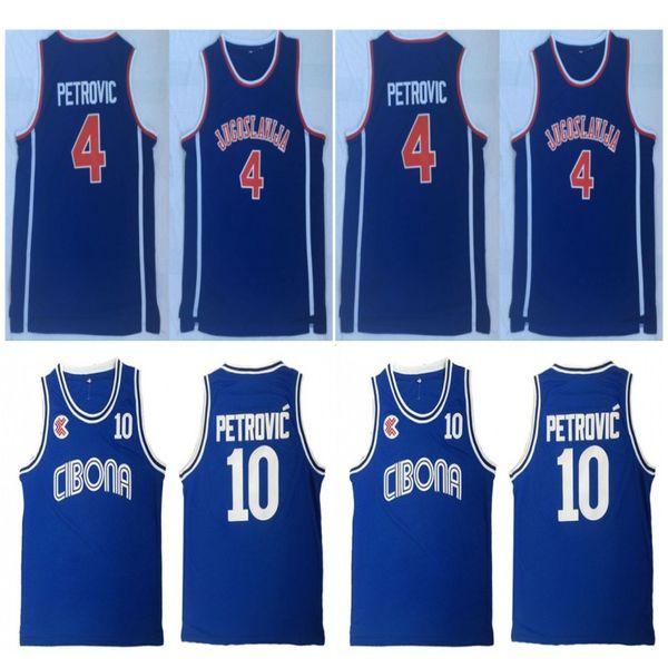 Mens Vintage Croazia # 10 Cibona Drazen Petrovic Pullover di pallacanestro Cheap Drazen Petrovic # 4 Jugoslavija Jugoslavia Croazia Camicie cucite