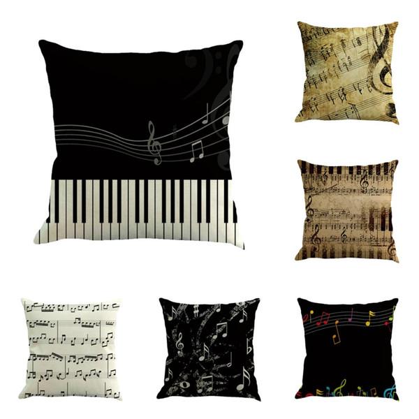 Müzik Serisi Not Baskılı Pamuk Keten Dekoratif Yastık Kılıfı Koltuk 45 * 45 cm Yastık Bırak Nakliye