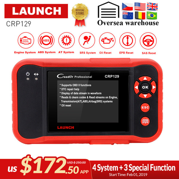 Launch Creader CRP129 Professional obd2 EOBD Diagnostic Scanner ENG/AT/ABS/SRS + EPB SAS Oil reset CRP 129 Auto Code Reader tool