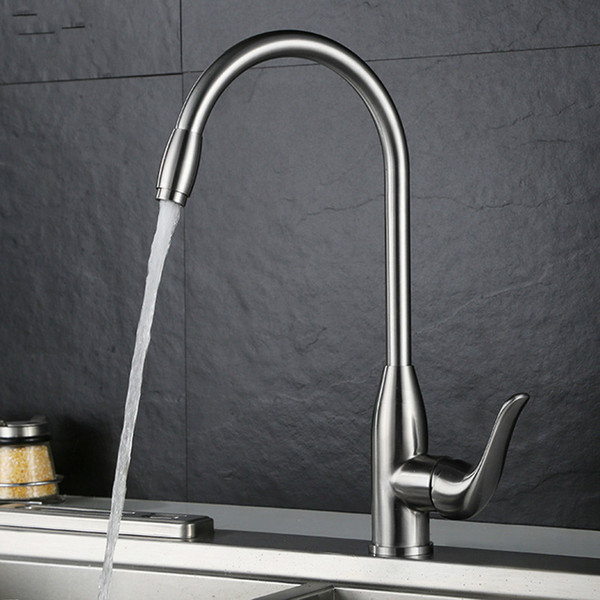 New design kitchen faucet stainless steel brushed sink water mixer Rotatable single hole faucet deck mounted high quality