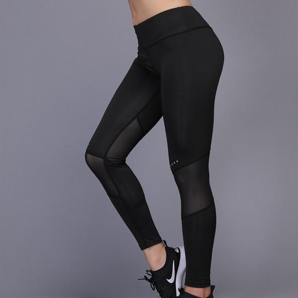 Nouveau Femmes Sportswear sexy Patchwork Noir Mesh respirant Yoga Pantalon Dames Fitness Gym Formation Leggings Courir Pantalon serré # 256476
