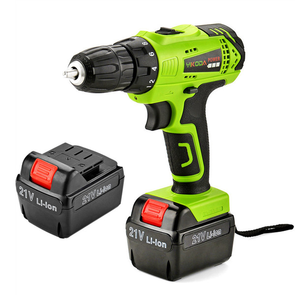 top popular 21V Electric Screwdriver 2 Piece Rechargeable Lithium Battery Household Cordless Driver Drill Multi-function Power Tools Carton 2021