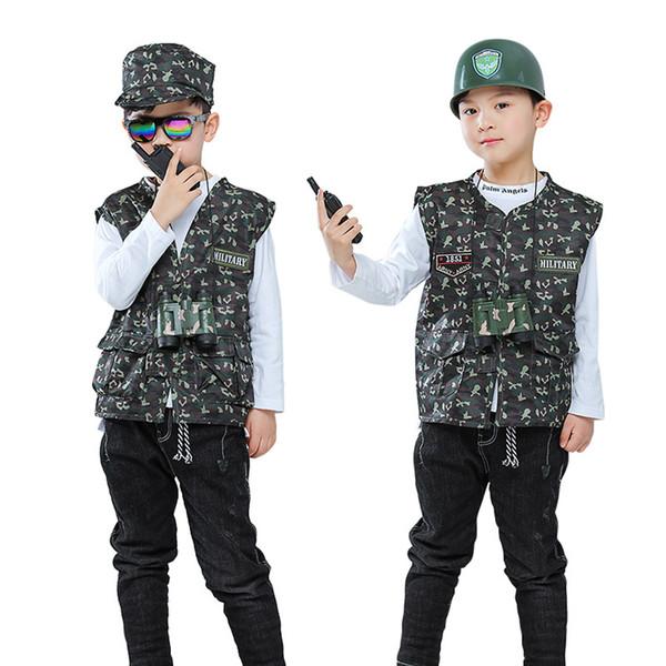 Crianças 110-140cm Suit Exército Uniforme cap Vest Meninos + com o combate Telescópio Exército dos EUA Jacket Tactical Costumes Soldado de Cosplay