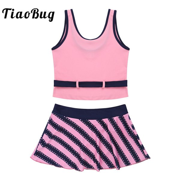 TiaoBug Kids Teens Two-piece Tankini Swimwear Girls Swim Tops with Stripe Printed Skirt Set Swimsuit Children Beach Bathing Suit