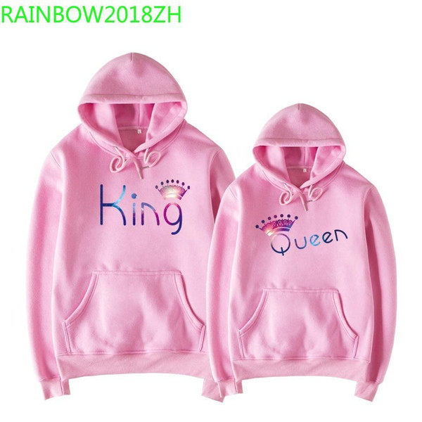2019 popular king and queen starry magic couple models hoodies plus velvet europe and the men's hoodies sportswear casual wear, Black