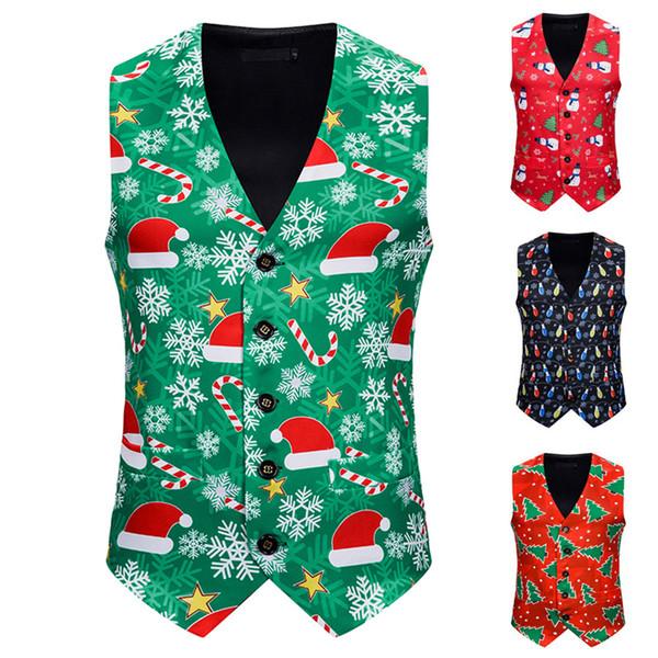 2019 Xmas Vest Men\u0027S Fashion Banquet Business Tank Tops Casual Christmas  Printing Waistcoat Vest Tops Men\u0027S Clothing S XXL 2019 From Jiuwocute,  $22.54