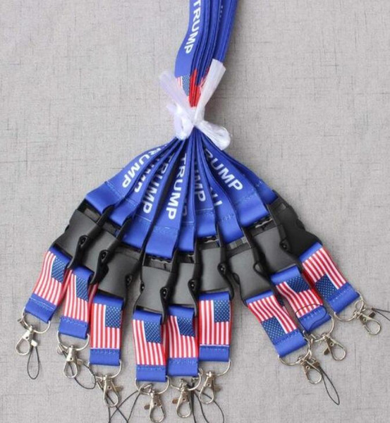 top popular TRUMP U.S.A Removable Flag of the United States Key Chains Badge Pendant Party Gift moble phone lanyard 2020