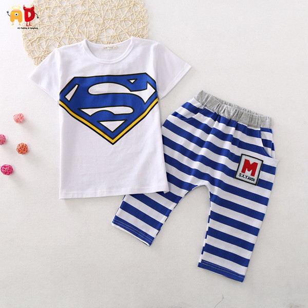 good quality Cute Superman Children's Sets for Summer Boys Girls T-shirts + shorts Cotton Fabric Quality Sewing Kids Clothing Clothes