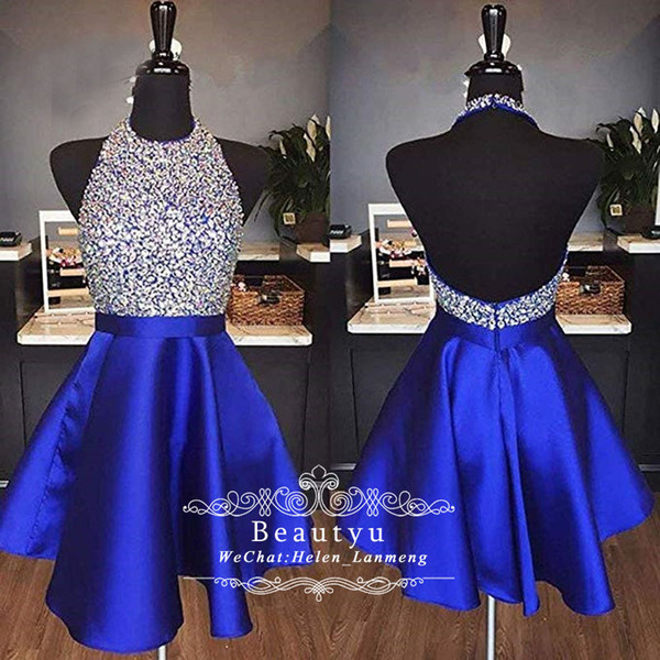 Sparkly Crystal Short Prom Dresses 2019 Halter Sexy Backless Royal Blue Satin Mini Homecoming Dress Graduation Party Gowns Cheap