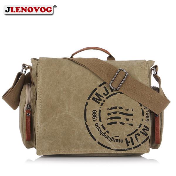 Lona dos homens BriefCase Vintage Crossbody Messenger bag Laptop caqui Exército Verde Marrom Casuais Big Retro Bolsa para homens