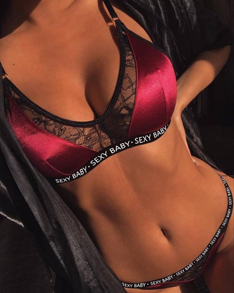 top popular New Lace Letter Print Swimwear Sexy Women Sissy G-String Thong Underwear Brazilian Push Up Padded Traingle Bathing Suit 2021
