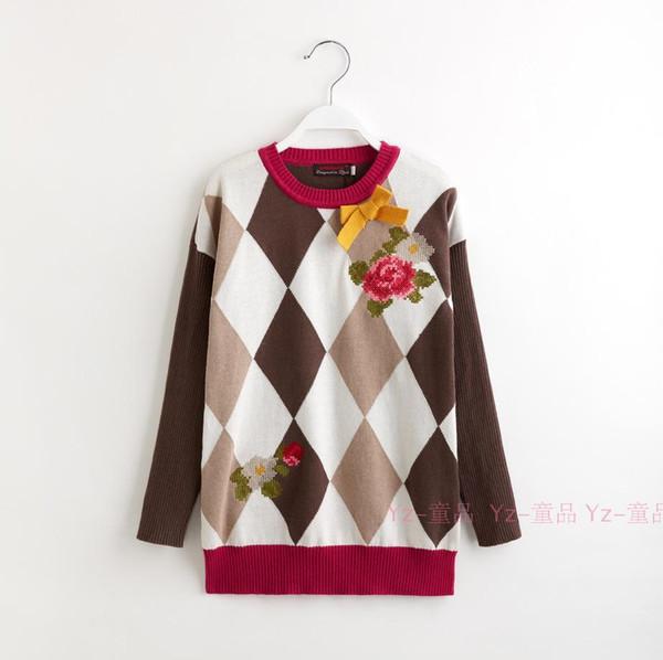 2 -12 ano Marca Meninas Do Bebê Longo malha pulôveres blusas Bordado arco crianças primavera outono Camisola vestido roupas infantis