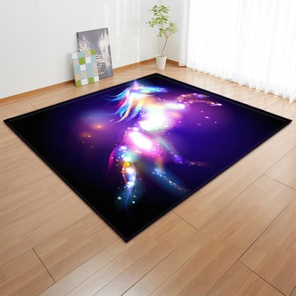 3D Unicorn Rugs And Carpets For Baby Kids Girl Home Living Room Cushion Children Bedroom Parlor Hallway Door Floor Bath Mats