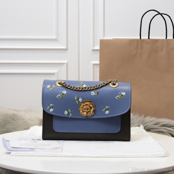 Черно-синий двухцветный натуральная кожа сочетается с цветочным принтом свежие квадратные металлические цепочки сумки сумки на ремне леди молодежные сладкие сумки стиля