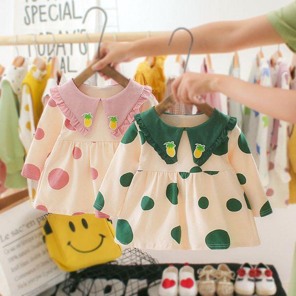 Casuais Primavera Outono Manga Comprida Baby Girl Clothes Vestido de Princesa Rosa / Verde Dot Batismo Aniversário Vestido Infantil Roupa Dos Miúdos