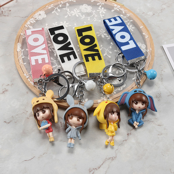 Lovely girl dolls, cartoon bells, key buttons, couples hanging ornaments wholesale, creative gifts free of freight