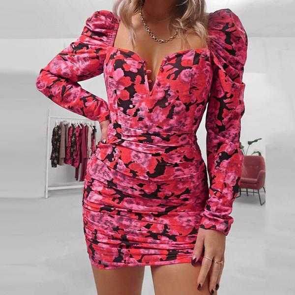 Длинные рукава платья Женщины карандаш платье Пряжка площади Воротник Цветочные печати Ruched женские платья зима Streetwear