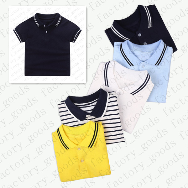 top popular Kids Solid Color Tees Striped Polos T Shirt Kids T-shirt Summer Short Sleeve Sports Top Casual Tees Child Fashion Boys Girls T Shirts CZ311 2021