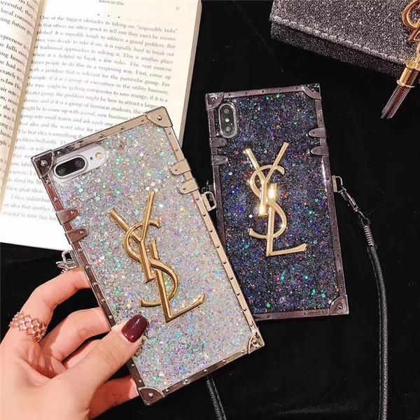 Ein stück luxus diamant glitter bling designer telefon fällen für iphone x 6s 7 8 plus xr xs max marke rückseitige abdeckung mit langen lanyard für geschenke