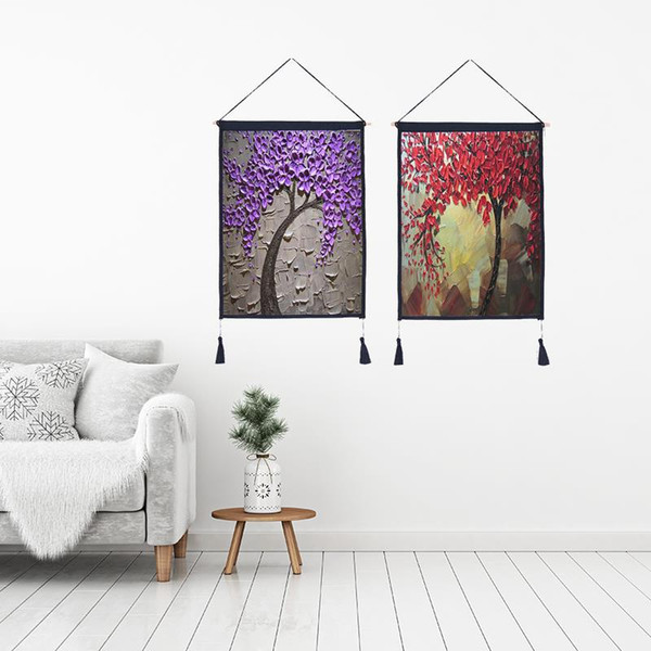 Decor Wall Scroll Hanging Tapestry Fashion Oil Tree Hanging Painting,Sofa Background Hanging Cloth,Corridor,Porch,Electric Meter Box