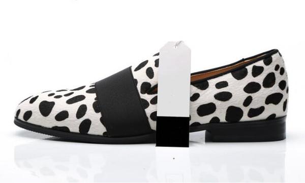 Cow Suede Slip-on Horsehair dress Men Shoes Elastic Band Dairy Cow Print Shoes Weddings Dress Men Shoes