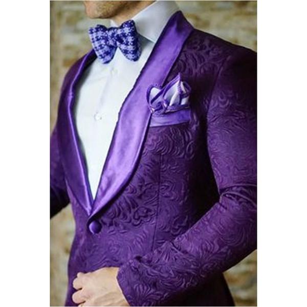 KUSON Ultimi Design Groomsmen Smoking Cappotto di stampa viola (giacca + pantaloni) Vestito degli uomini per la festa nuziale Prom. Migliore uomo Abiti uomo # 506419