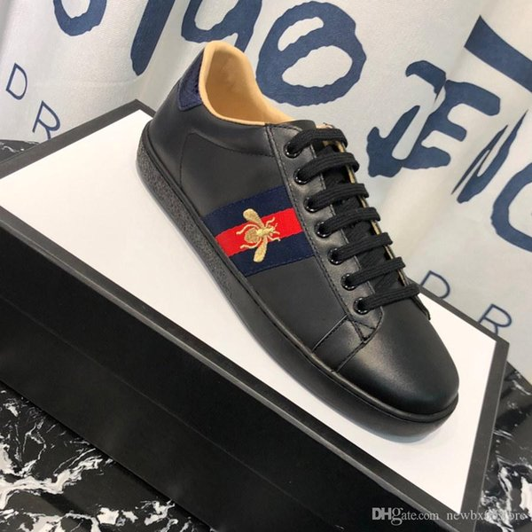 2019 Mens 19Designer Shoes Black Leather Ace Embroidered Bee Sneaker For  Men Women Platform Casual Shoes High Quality 19Gucci From Cl478, $100.51