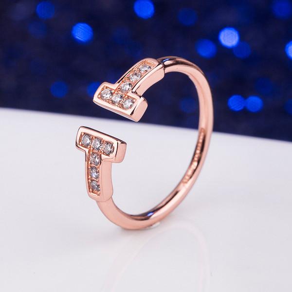 anel de ouro rosa com CZ Diamante