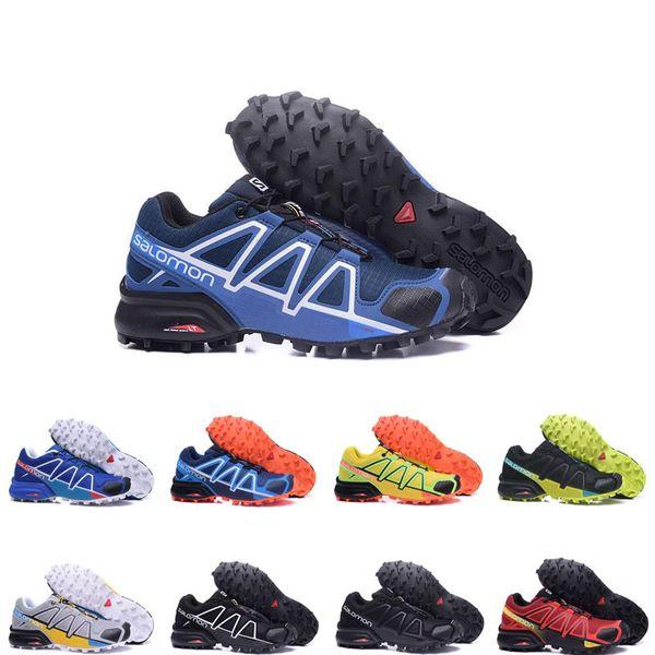 salmon shoes 2019 Yaz erkekler sneakers Speedcross 4 4 s mavi beyaz turuncu siyah Moda Sıcak Satış 4 s koşu ayakkabıları yüksek kalite Açık eğitmenler boyutu 40-46