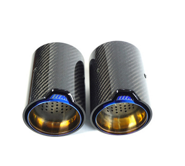 top popular Blue M performance Stainless Steel Exhaust end tips auto muffler carbon fiber exhaust pipes 1 pc 2021