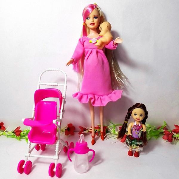 on sale lace up in official store Acheter Mode Hot Dollhouse Meubles Enfants Maison De Jeu Définit Pour  Barbie Kelly Bébé Enfants Jouets Poupée Enceinte Meilleur Fille Cadeaux  Q190521 ...