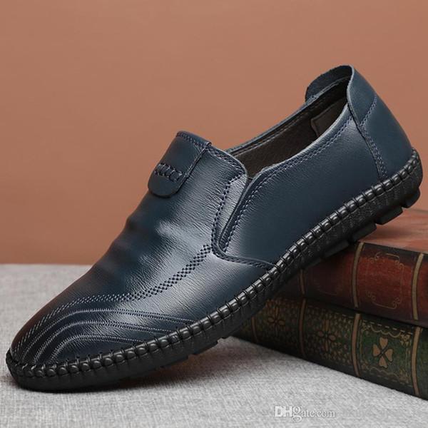 size238 Top Men holgazán cuero masculino Best Shoes mocasín estilo celebridad caballeros zapatos de forro de cuero de cerdo bordado moda para hombres cuero