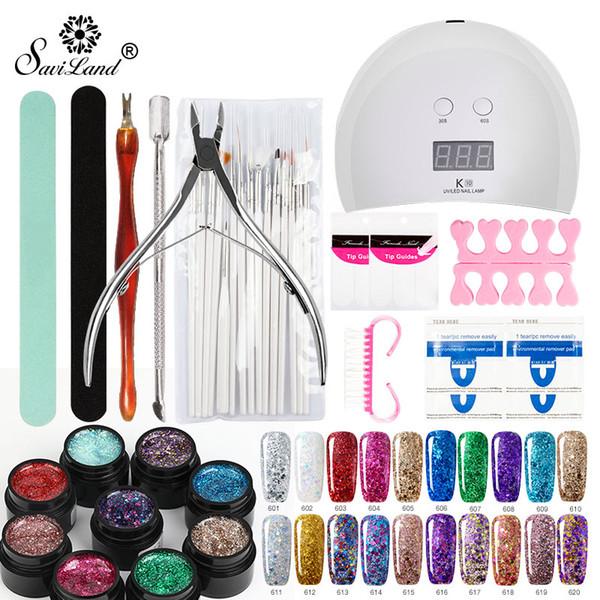 Saviland Manicure Set with Lamp Gel Nail Polish 36W UV LED Lamp Nail Art Kit Diamond GlitterGel Varnish Manicure Tools Set