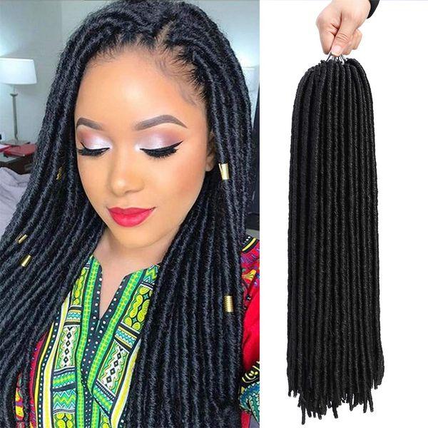 Straight Faux Locs Corchet Hair Dreadlocks Crochet Braids Soft Faux Locs Crochet Braiding hair 18 inch Soul Goddess Locs Synthetic Hair