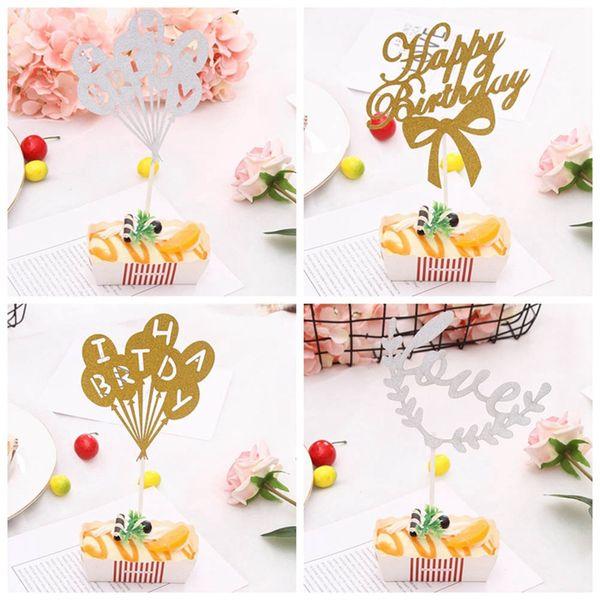 Bandeiras do bolo multi-color Cupcake Topper do bolo Feliz aniversario por fontes da festa Cozimento da família decoração