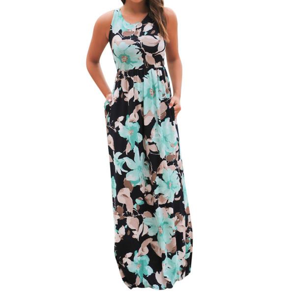 Vestido largo sin mangas con estampado floral de boho Vestido largo sin mangas con estampado floral con bolsillos Vestidos sexy de playa