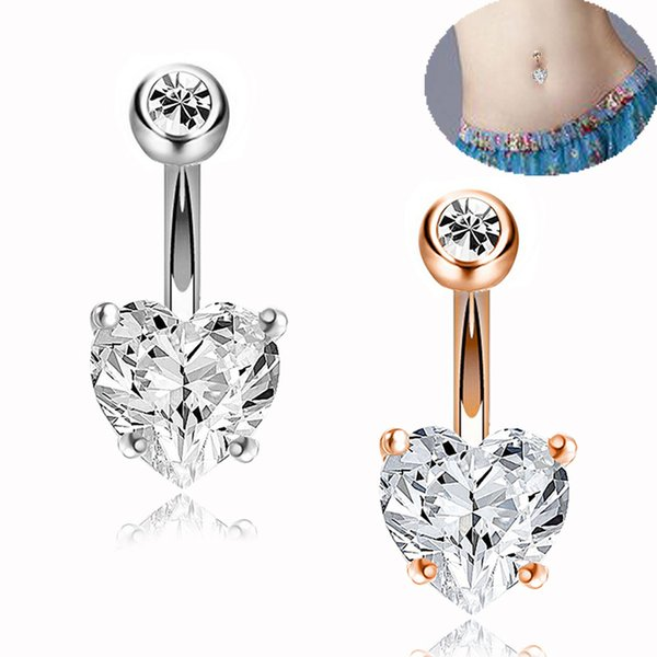 Vientre circonio Metal Color Oro Plata Corazón Pendiente del ombligo Piercing Anillos de los botones de acero Estilo cristalino Piercing Sexo Joyería del cuerpo