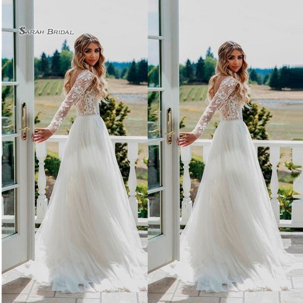 top popular 2019 A-line Sweep Train Tulle Bride Dress Appliques Long Sleeves Wedding Bridal Gown High-end Wedding Boutique 2020