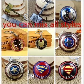 10style Captain America Thor Batman Iron Man Superman Spider Man The Avengers Keychain Keyring Movie Super Hero Key Ring Accessories newv003
